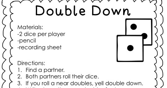 Techie Turtle Teacher freebie double down dice game for near – Near Doubles Addition Worksheet