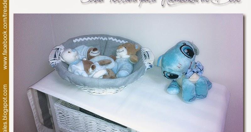 Tres dedales cesta forrada para habitaci n de beb - Estanterias para dedales ...