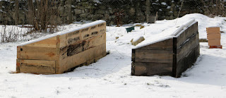 Raised beds with a good covering of snow