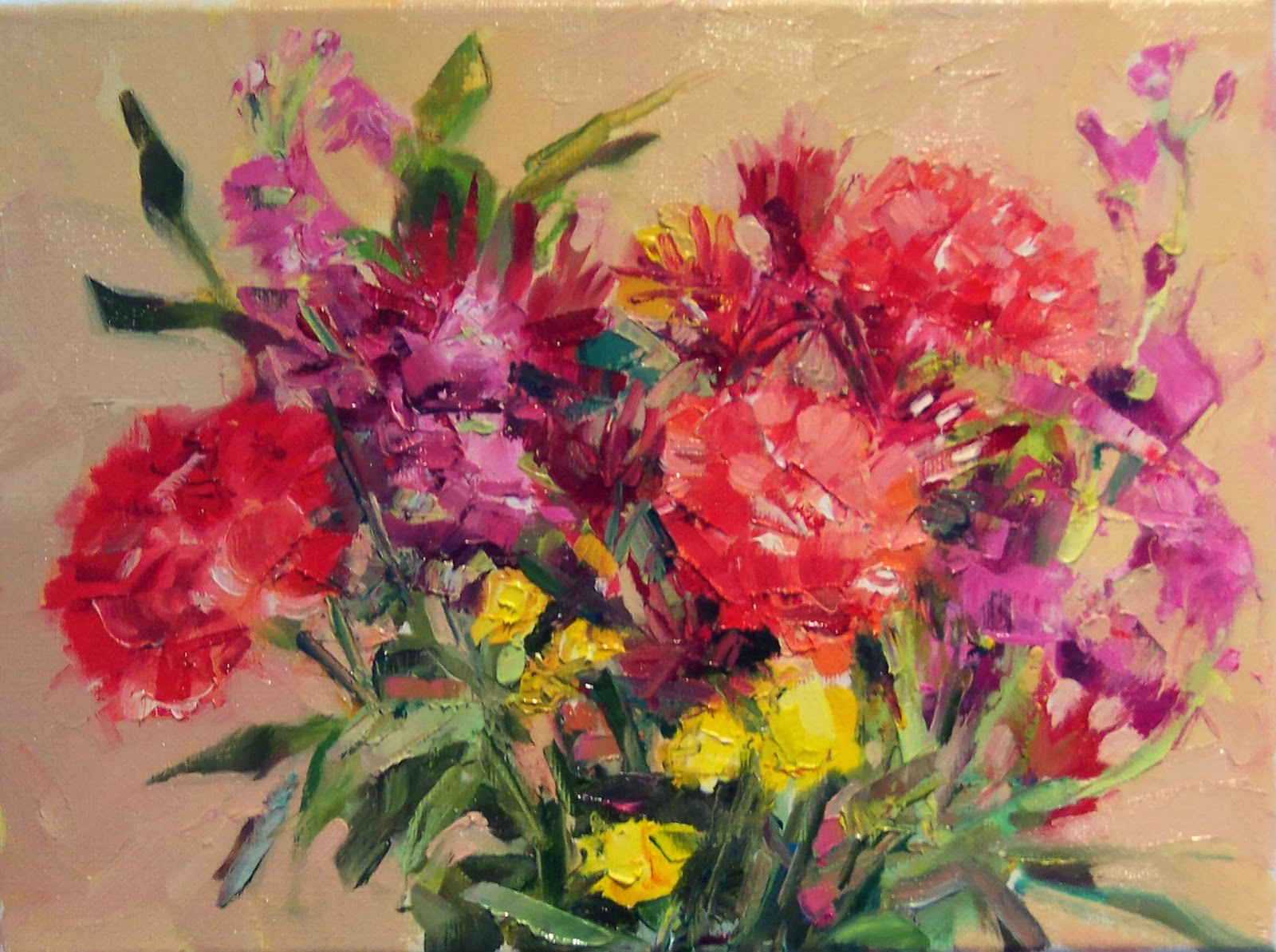 Art Every Day Birthday Flowers still life oil on canvas 9x12 price$275