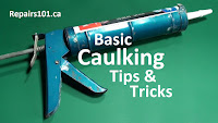 tub of caulk loaded into a caulking gun