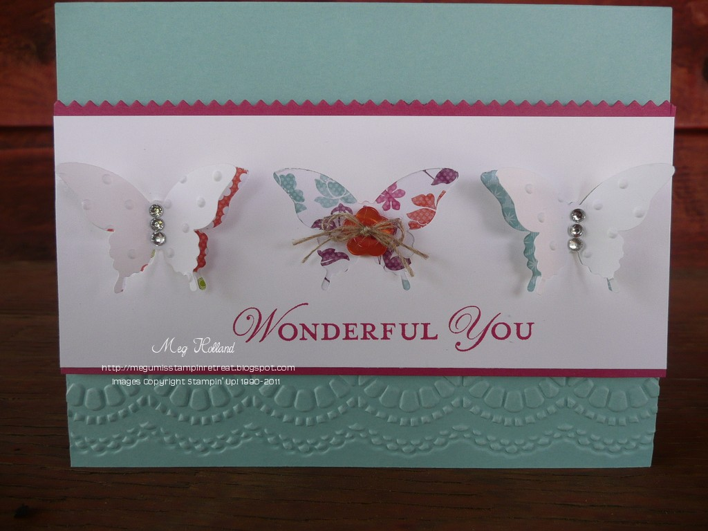 Megumis stampin retreat elegant butterfly punch card im back from the amazing stampin up convention 2012 in salt lake city what a fabulous time i had there i took over 500 photos and am looking forward to kristyandbryce Image collections