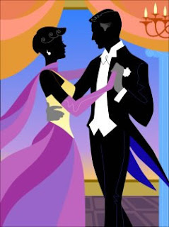 Silhouette illustration of a young man and woman dancing at a formal dance