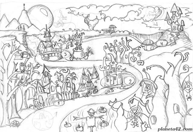 Halloween Landscape Sketch