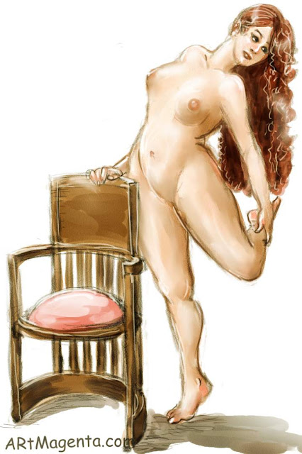 Life drawing model with the barrel chair is a croquis sketch by artist and illustrator Artmagenta