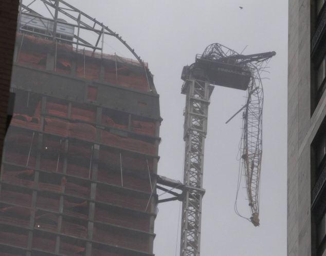 Hurricane Sandy crane  Manhattan New York