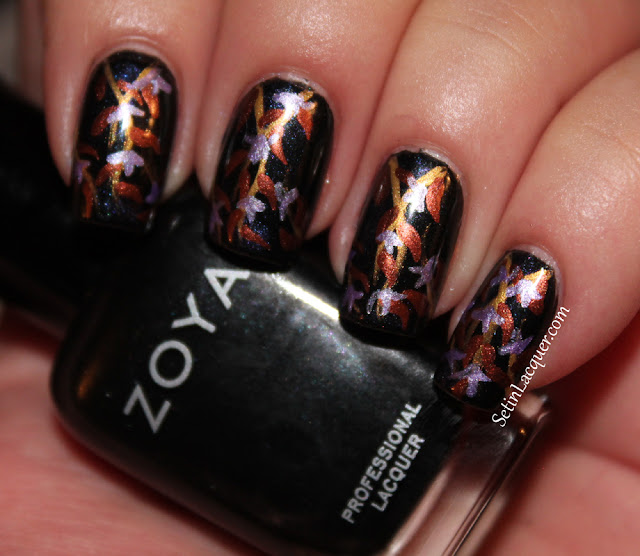 Abstract floral nail art on black