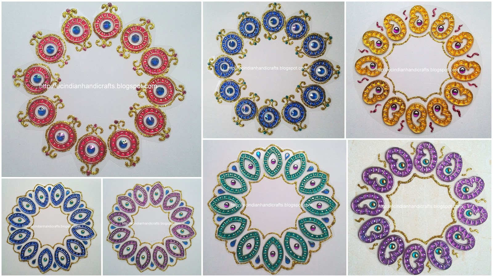 Ec indian handicrafts 39 customised kundan rangolis diy for Home made rangoli designs
