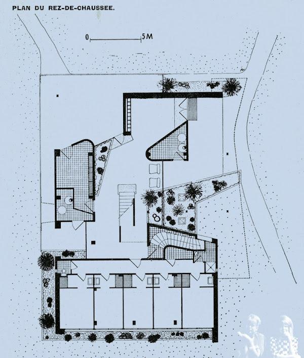 """Croissy-sur-Seine - Résidence """"La Vieille Eglise""""  Architectes: Jean Chemineau, Lionel Mirabaud  Réalisateur: André Manera  Construction: 1959  Peintures: H. Stragiotti"""