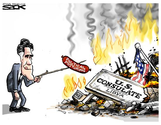 cartoons on romney and dead ambassodr