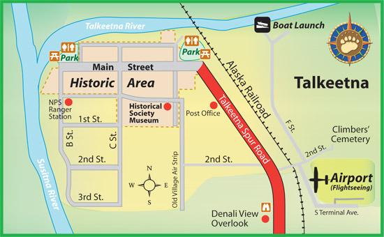 Maps of Alaska Roads By Bearfoot Guides: Map of Talkeetna, Alaska