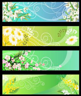 Free Design Banner Flower (Cdr File)