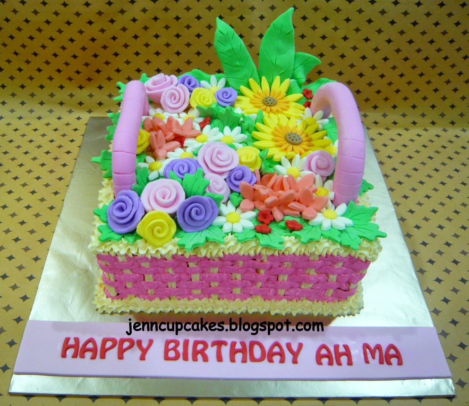 Jenn Cupcakes Muffins Basket Of Flowers Cake