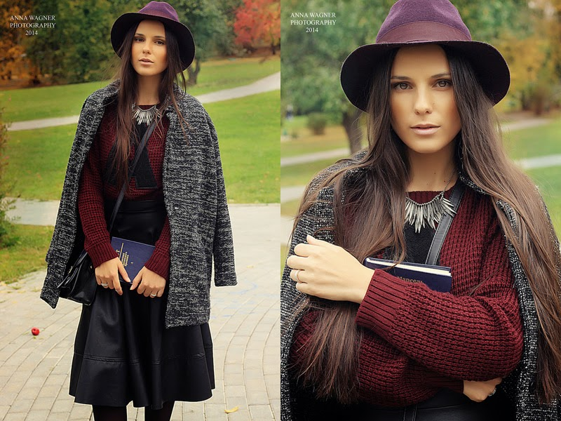 leather skirt, burgundy hat, crop letter sweater, outfit