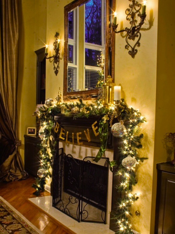 Fireplace Mantel Home Decoration Idea in Christmas Festival HDpixels