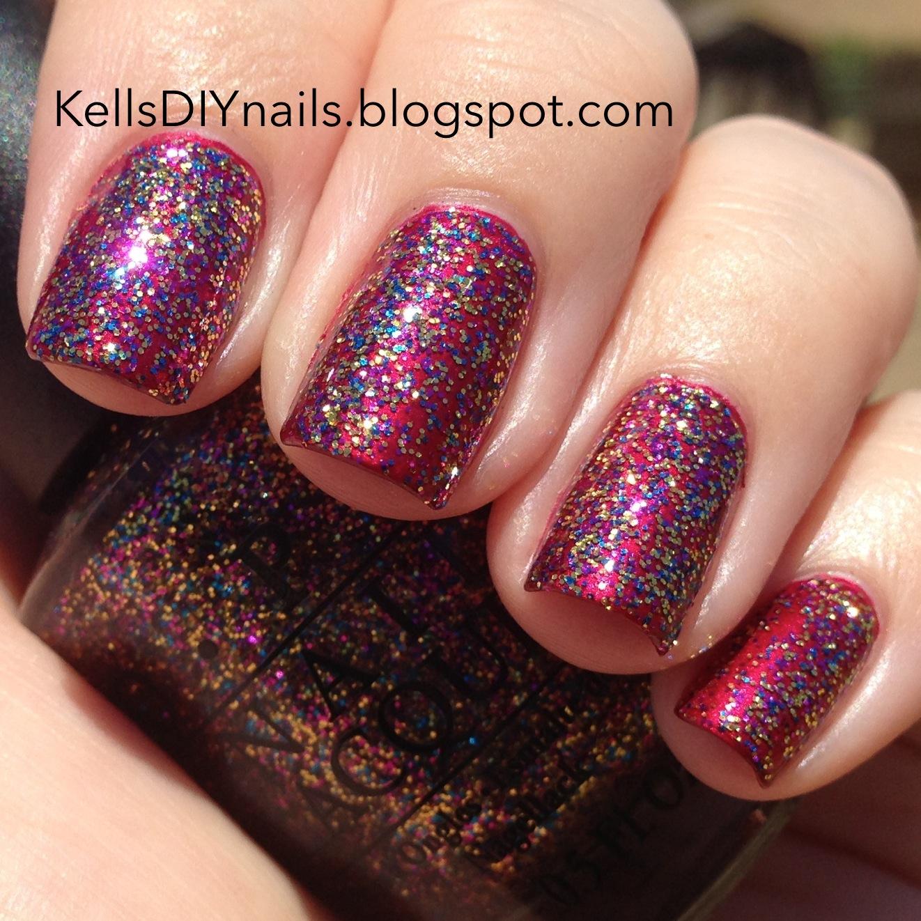 kells diy nails vintage challenge week glitter opi