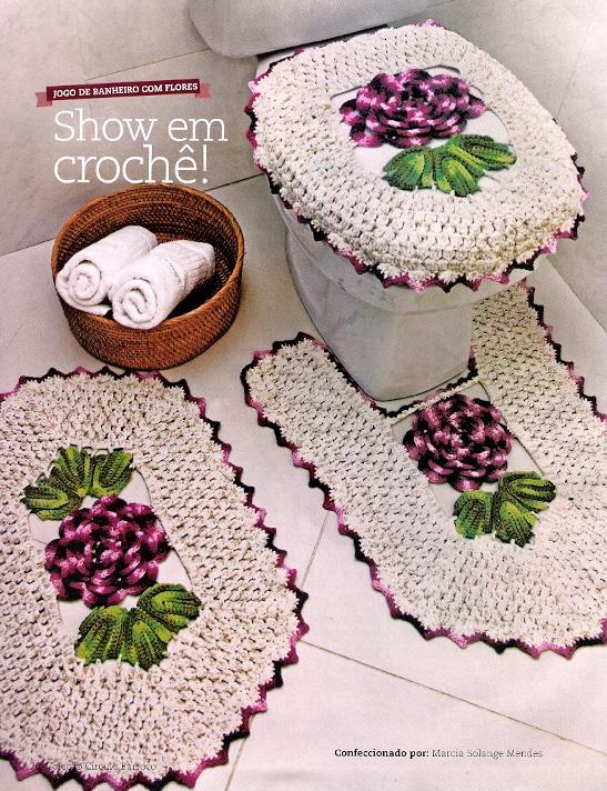 Tapete Floral Para Banheiro : Tapetes De Banheiro Croche Com Graficos