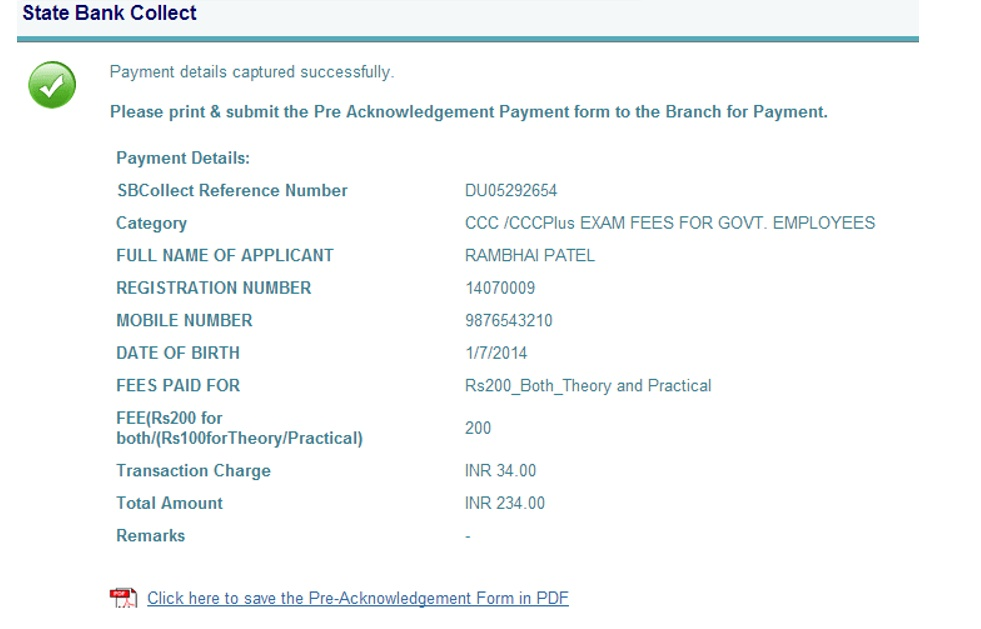 Bca campus august 2015 step 7 if you select sbi branch option for cash payment then take the printouts of pre acknowledgment form using click on click here to save the thecheapjerseys Gallery