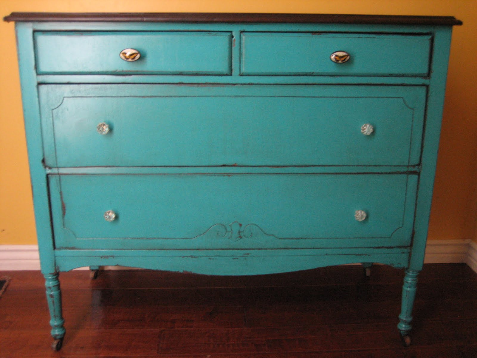 European paint finishes teal dresser Best color to paint dresser