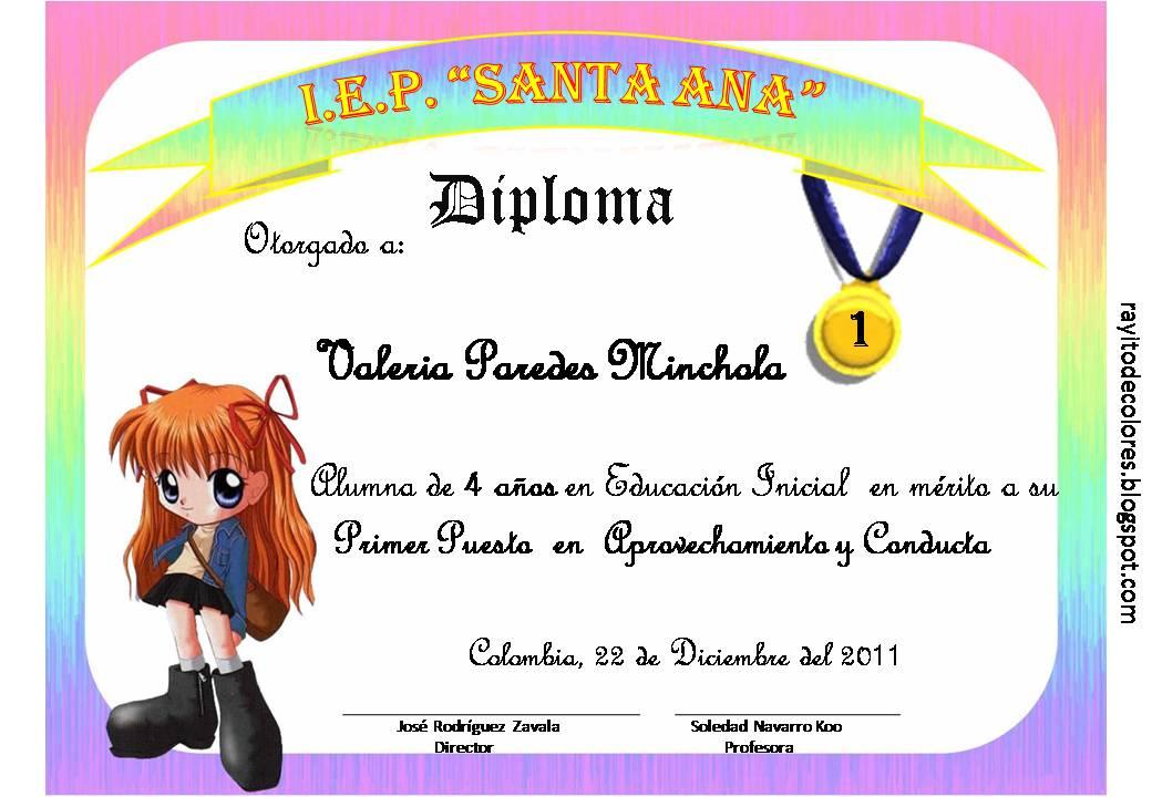 Diplomas escolares para niños