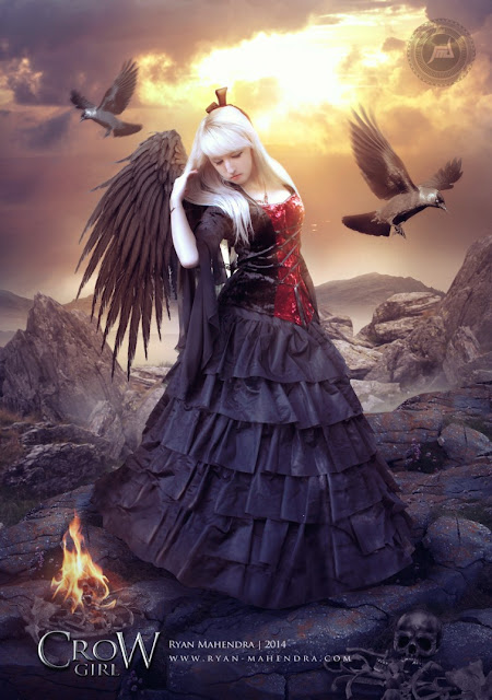 crow girl, fantasy, girl, digital imaging, digital art, ryan mahendra