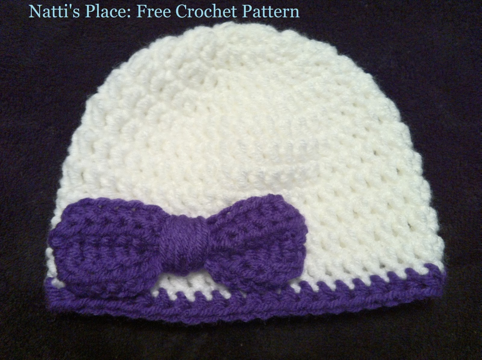 Crochet Hat Pattern With Bow : Nattis Place: Free Crochet Pattern: Newborn Baby Bow Hat ...