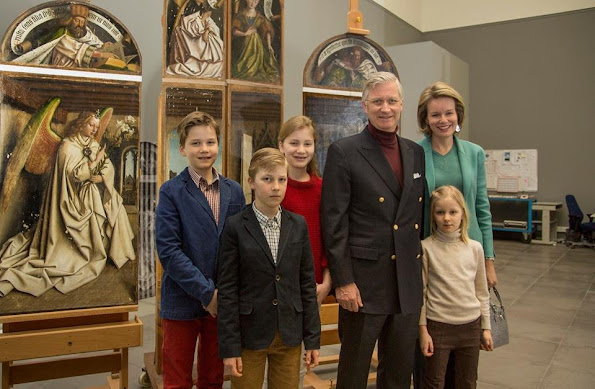 King Filippe and Queen Mathilde of Belgium, their children Crown Princess Elisabeth, Prince Gabriel, Prince Emmanuel and Princess Eleonore visited restoration workshop of Ghent Fine Arts Museum.