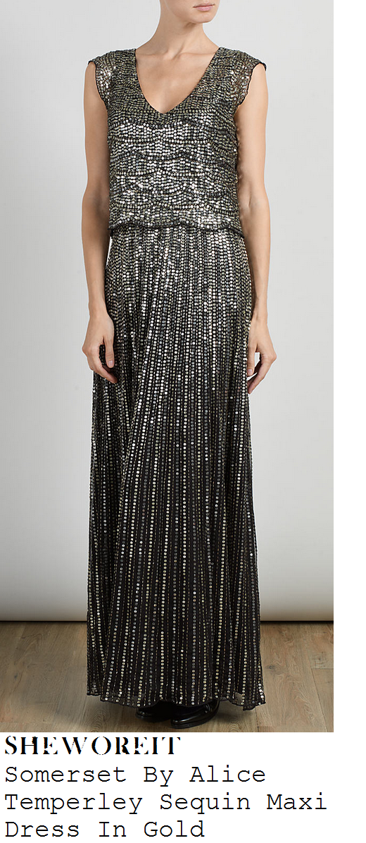 fearne-cotton-metallic-gold-sequin-embellished-cap-sleeve-v-neck-maxi-dress-children-in-need