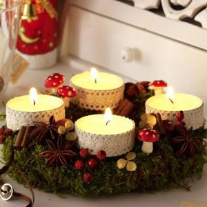 reciclagem - enfeite de natal - velas