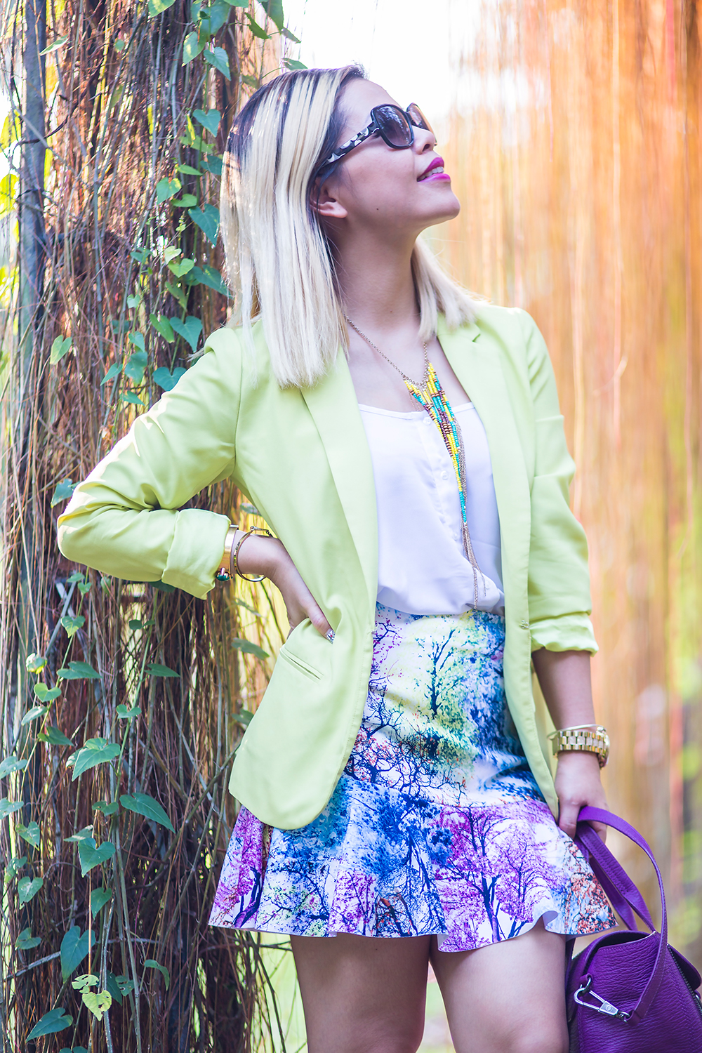 Crystal Phuong- Singapore Fashion Blog- Colorful printed skirt and neon blazer
