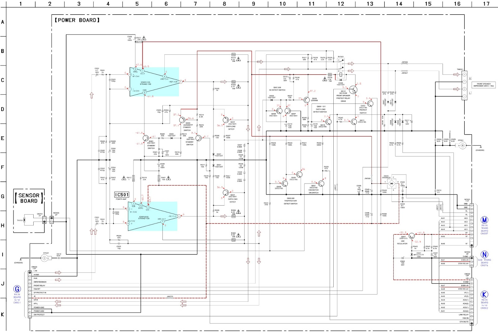 sony hcd-rg66t - stk 442-130 - power amp  u0026 power supply - schematics  circuit diagram