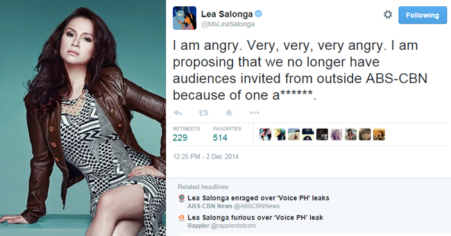 Coach Lea Salonga's Feedback on the Leak of The Voice Battle Round Results for December 6, 2014