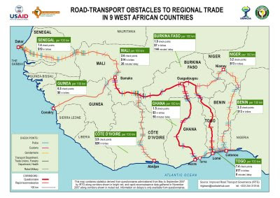Bauzeitgeist african borders african states a map of obstacles along overland transport routes in west africa ccuart Images