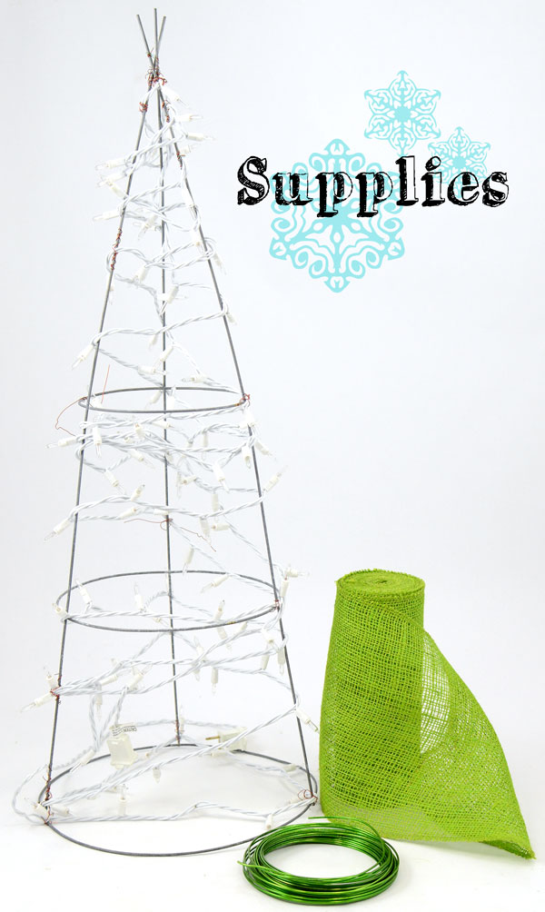 Supplies used to make a ruffled burlap Christmas tree decoration