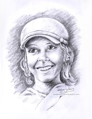 pencil drawing lady portrait, jaydevanimator