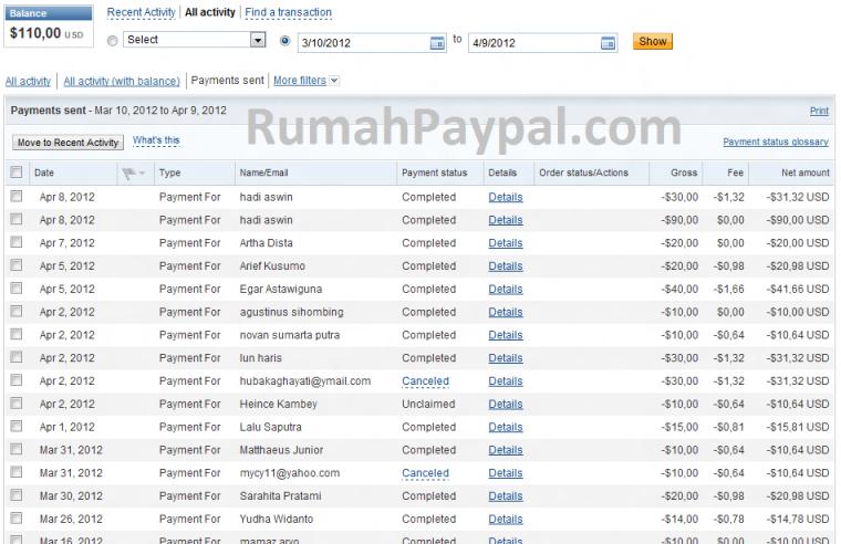 Bukti pengiriman balance Paypal
