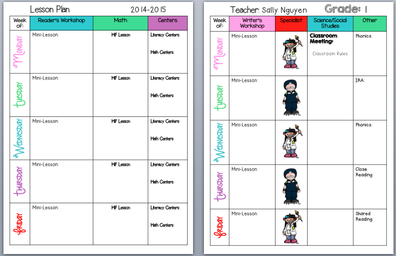 cute weekly class planner template