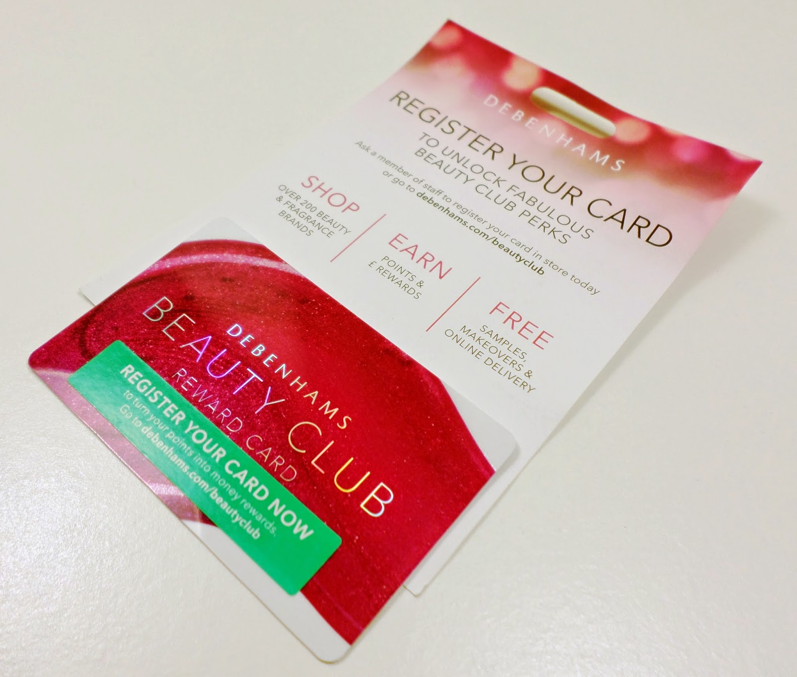 Debenhams Beauty Club Reward Card