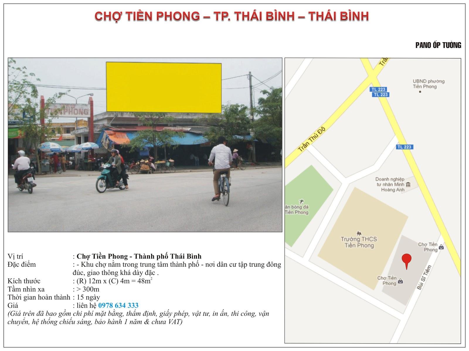 Quảng cáo tại chợ Tiền Phong - Thái Bình