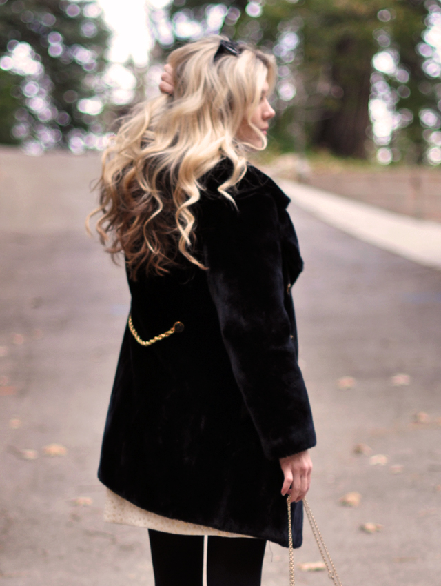 holiday outfit, Cynthia Steffe Dress, Vintage coat, Lauren Merkin leopard print bag, Kara Ross necklace