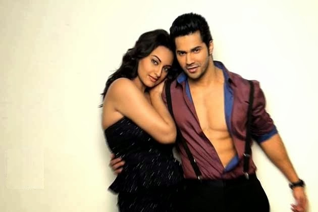 Varun Dhawan and Sonakshi Sinha Hottest Photoshoot six pack abs sonakshi sinha's round hude cleavage ass visible in skirt pics