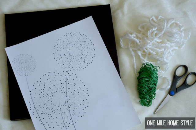 Supplies to Create Your Own Hand Embroidered Dandelion Wall Art - One Mile Home Style