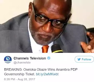 Oseloka Defeats Ifeanyi Ubah, Others, Wins Anambra PDP Primaries Ahead Guber Elections