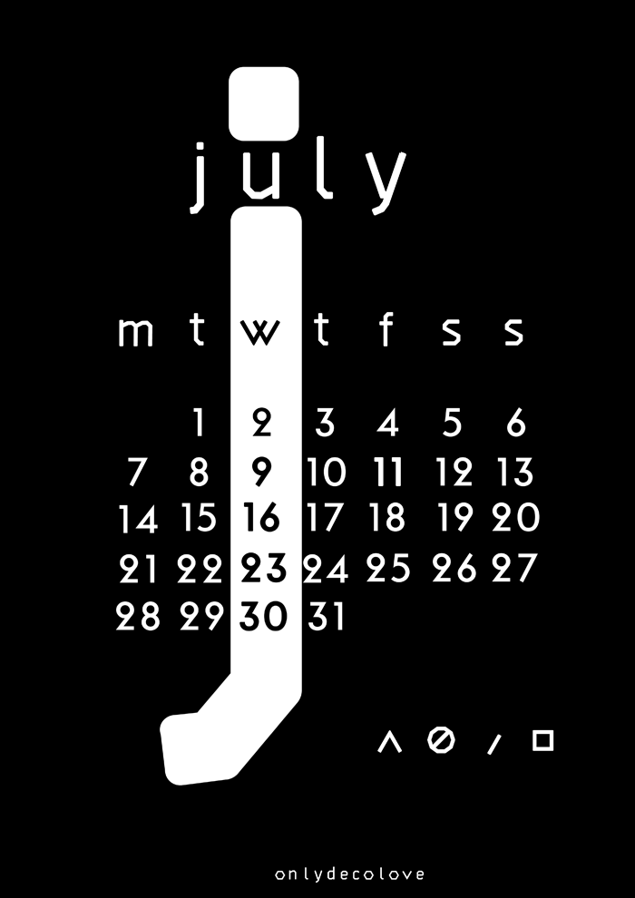 Typography Calendar Free : July free typographic printable calendar only deco love