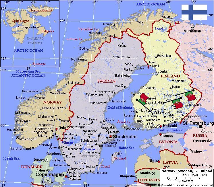 Mapa/peta Finlandia