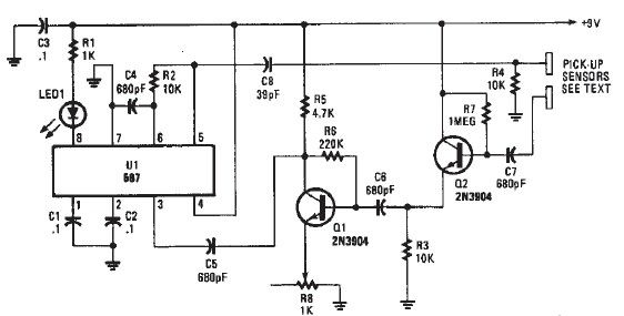 simple proximity detector schematic circuit diagram