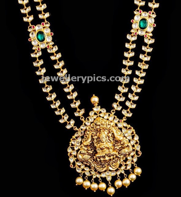 double line kundan long chain with lakshmi devi locket