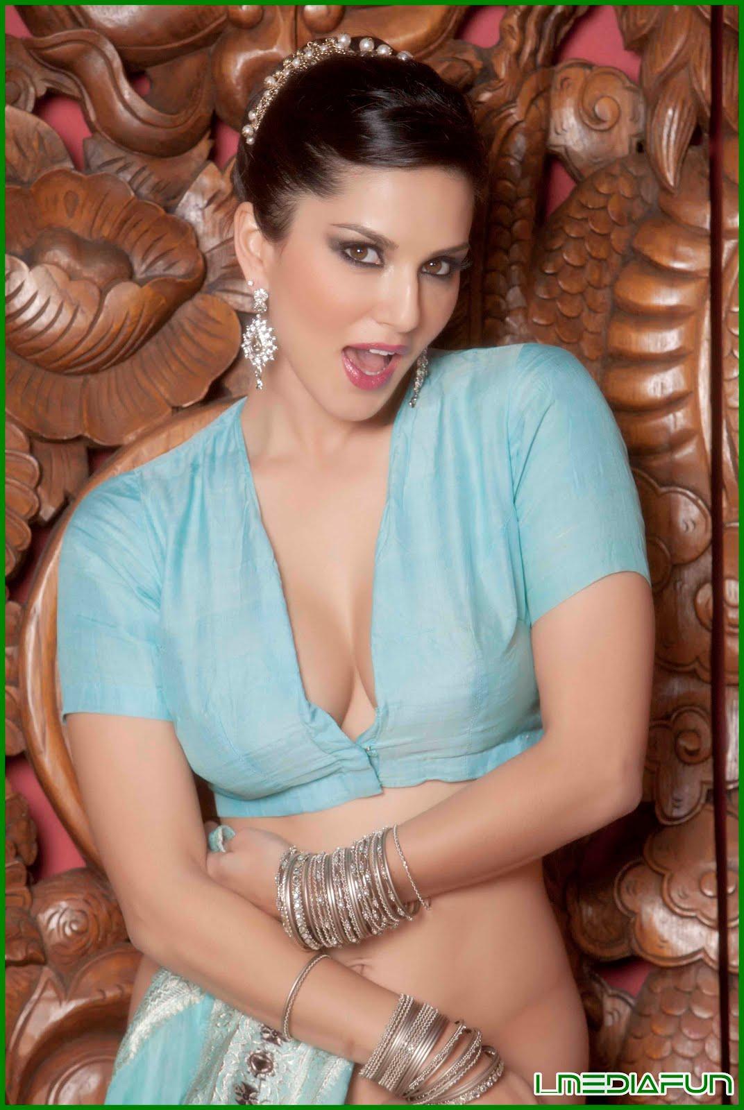 sunny leone s bollywood photoshoot in blue saree