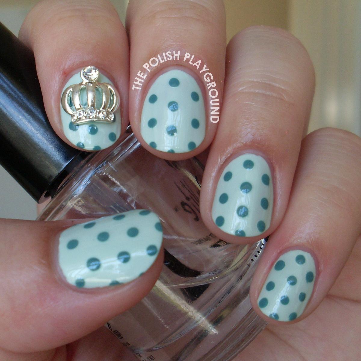 Mint Green Polka Dots with Crown Stud Nail Art