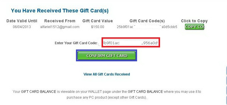 Confirm Gift Card